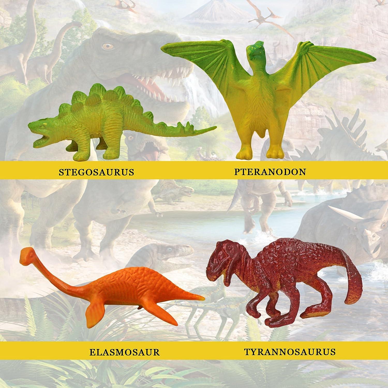 Saurier Figuren Dinosaurier in Box 48 Stück farbig Kunststoff Tiere Dinos