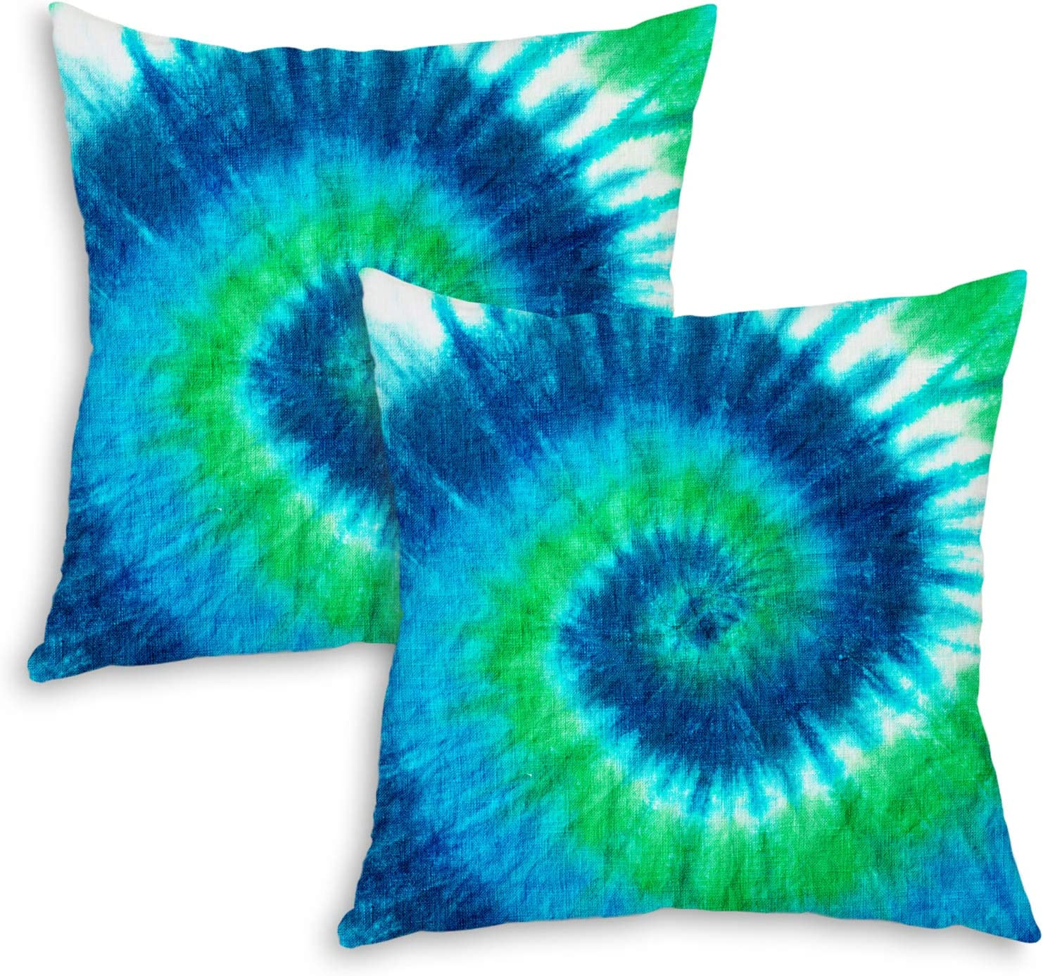 QoGoer Tie Dye Pillow Covers, Rainbow Decor Pillow Case 18 x 18 Inch Set of 2, Colorful Pattern Design Cushion Covers for Home Car Sofa Bedding Decorative (Green)
