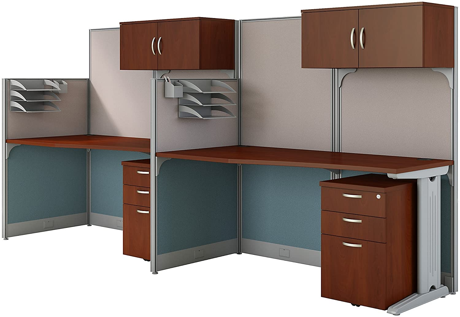 Office in an Hour 2 Person Cubicle Workstations in Hansen Cherry