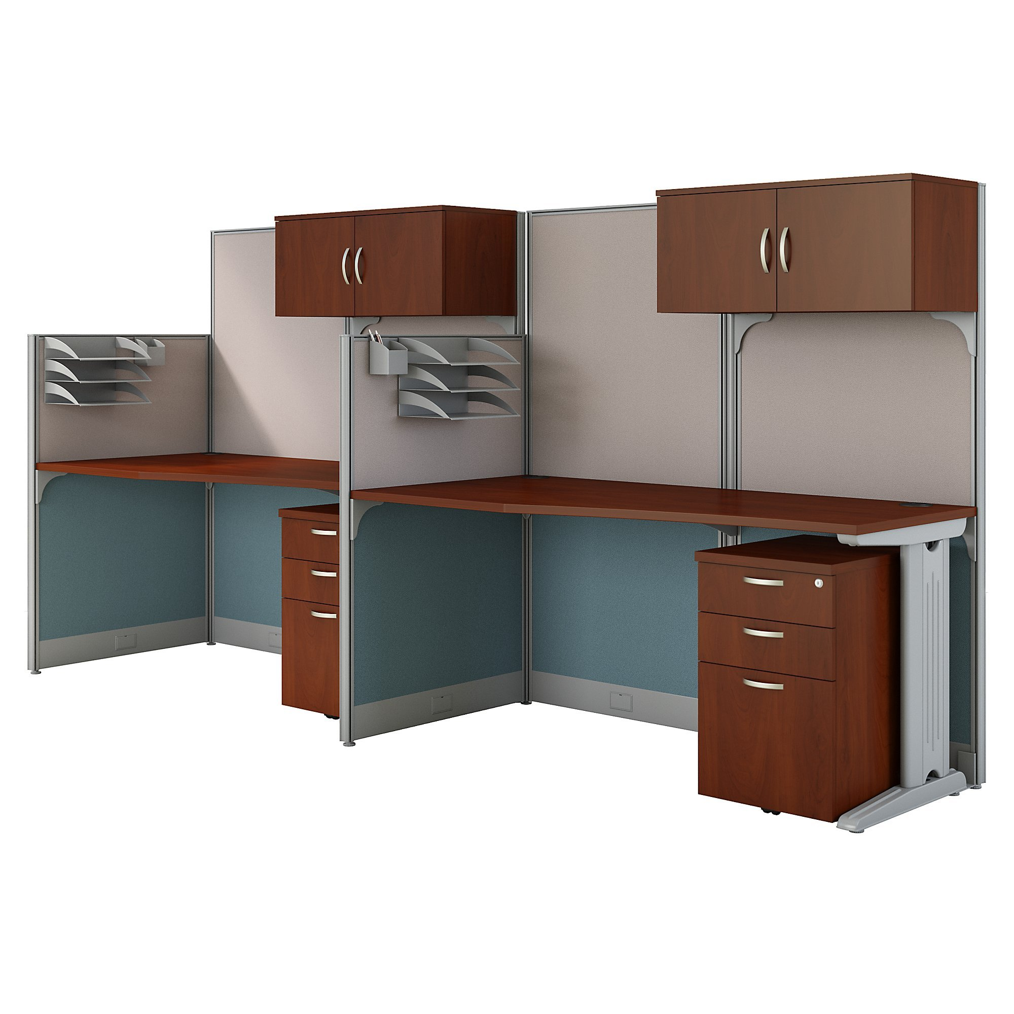 Office in an Hour 2 Person Cubicle Workstations in Hansen Cherry by Bush Business Furniture