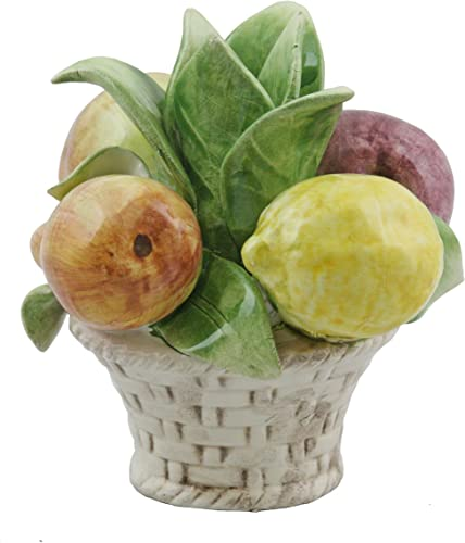 Authentic Italian Handcrafted Porcelain Assorted 6 Inches Fruit Basket Candle Holder. X105-ITE