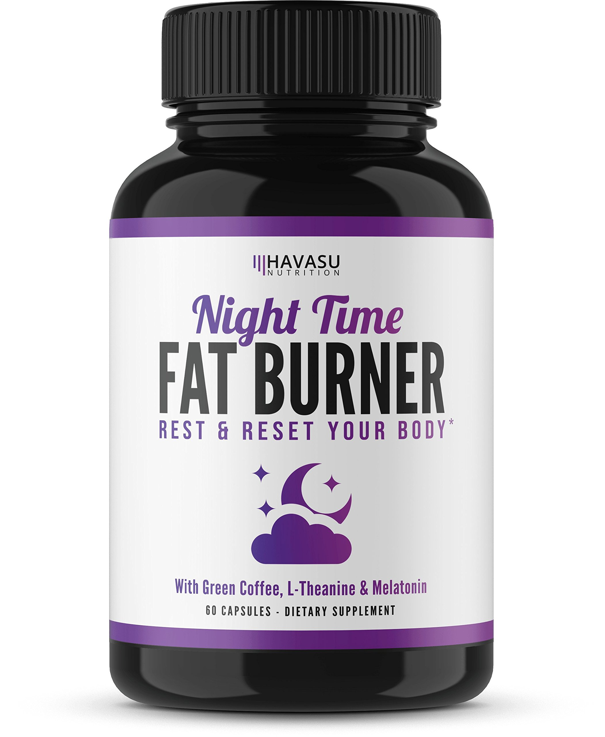 Havasu Nutrition Night Time Weight Loss Pills with Vitamin D, Green Coffee Bean Extract, White Kidney Bean Extract, L-Theanine, L-Tryptophan, Melatonin- Non Habit Forming PM Fat Burner, 60 Capsules by Havasu Nutrition