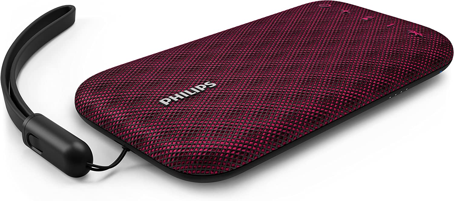 Philips Everplay BT3900P - Altavoz Bluetooth (Potente y portátil, Resistente al Agua, con micrófono, Correa USB) Color Rosa