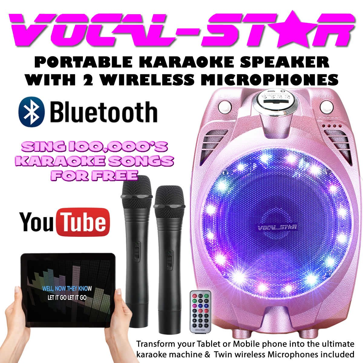Vocal-Star VS-SP30 Wireless Pink Karaoke Machine Active PA Speaker Wireless Mics Bluetooth Sp-30pink