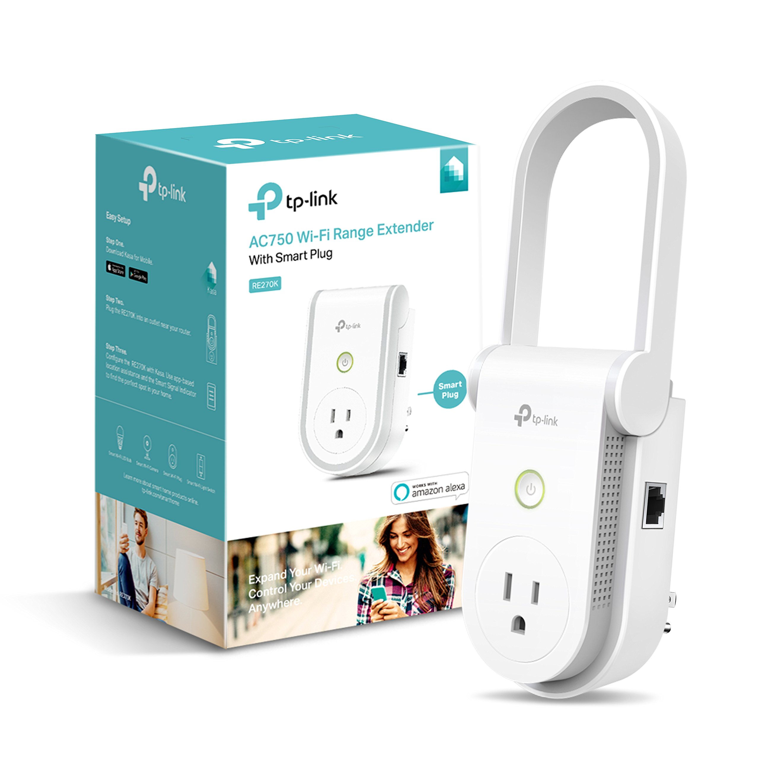 Kasa AC750 Wi-Fi Range Extender Smart Plug by TP-Link - Fast AC750 Wi-Fi Extender/Repeater with Built-in Smart Plug, No Hub Required, Works with Alexa and Google Assistant (RE270K)