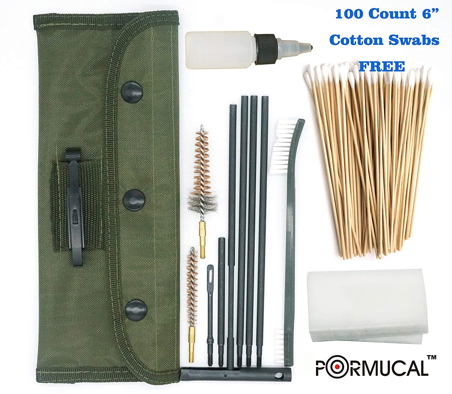 PORMUCAL Universal Gun Cleaning Kit for All M16 / AR15 Rifle 5 56mm  223   22 Caliber Military Weapons Cleaning Kit