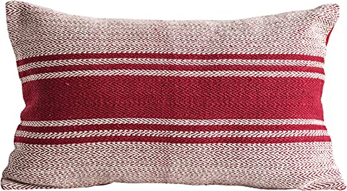 Creative Co-op Red Striped Rectangle Cotton Woven Pillows