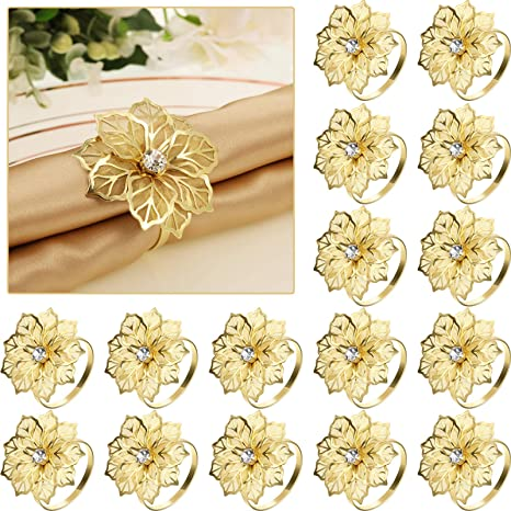 Amazon Com 24 Pack Napkin Rings Alloy Hollow Out Flower Ring Napkin Holder Adornment Exquisite Household Floral Rhinestone Napkins Rings Set For Wedding Mother S Day Party Dinner Table Decor Gold Home Kitchen
