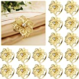 24 Pack Napkin Rings Alloy Hollow Out Flower Ring Napkin Holder Adornment Exquisite Household Floral Rhinestone Napkins Rings