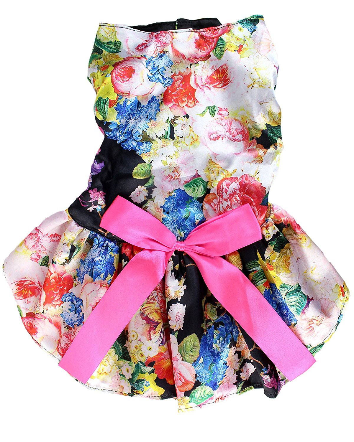 Floral Satin Dog Dress by Midlee (Small Dog X-Large, Black)