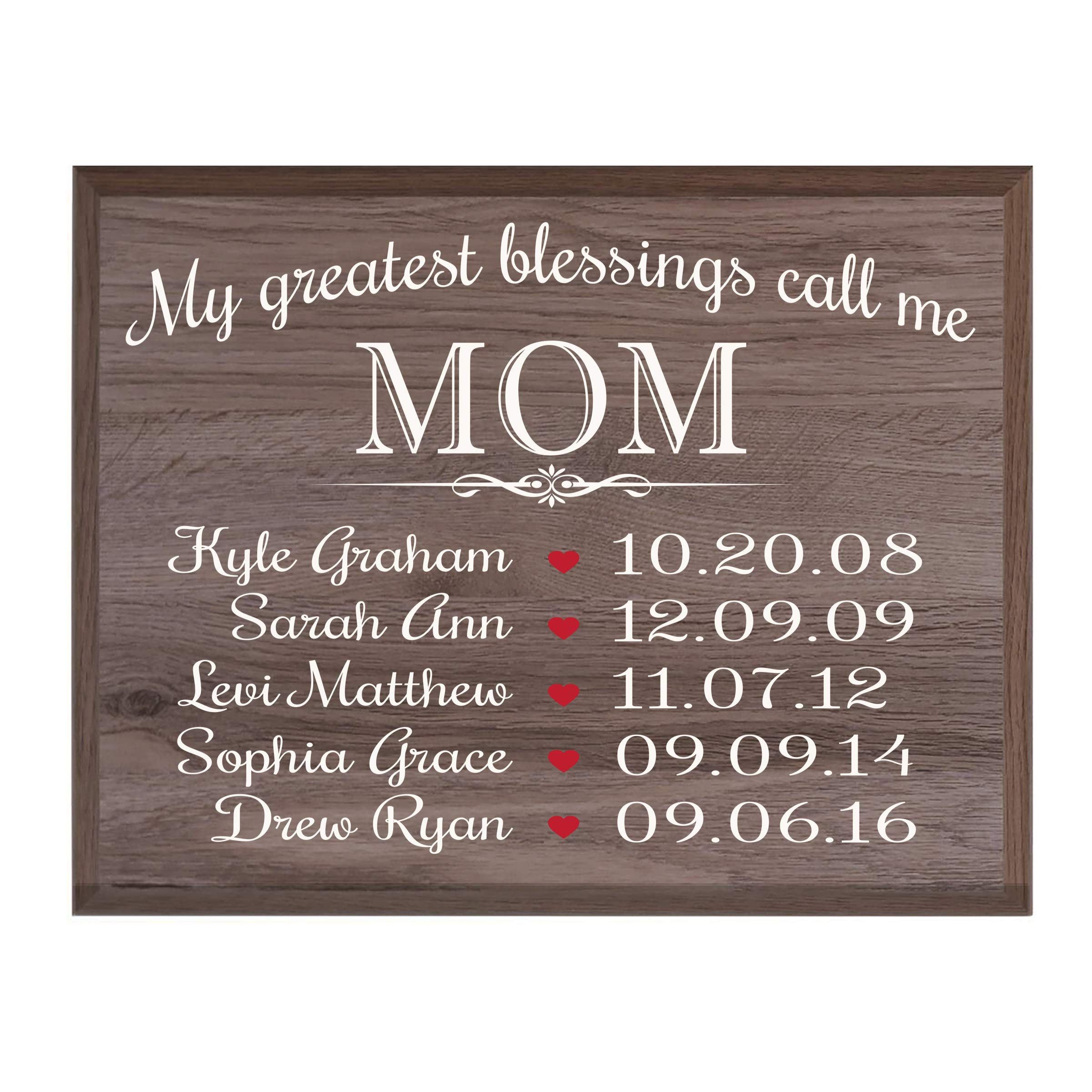 LifeSong Milestones Personalized Gifts for Mom Wall Plaque Sign with Children's Names Birth Dates to Remember My Greatest Blessings Call me Mom (Salt Oak)