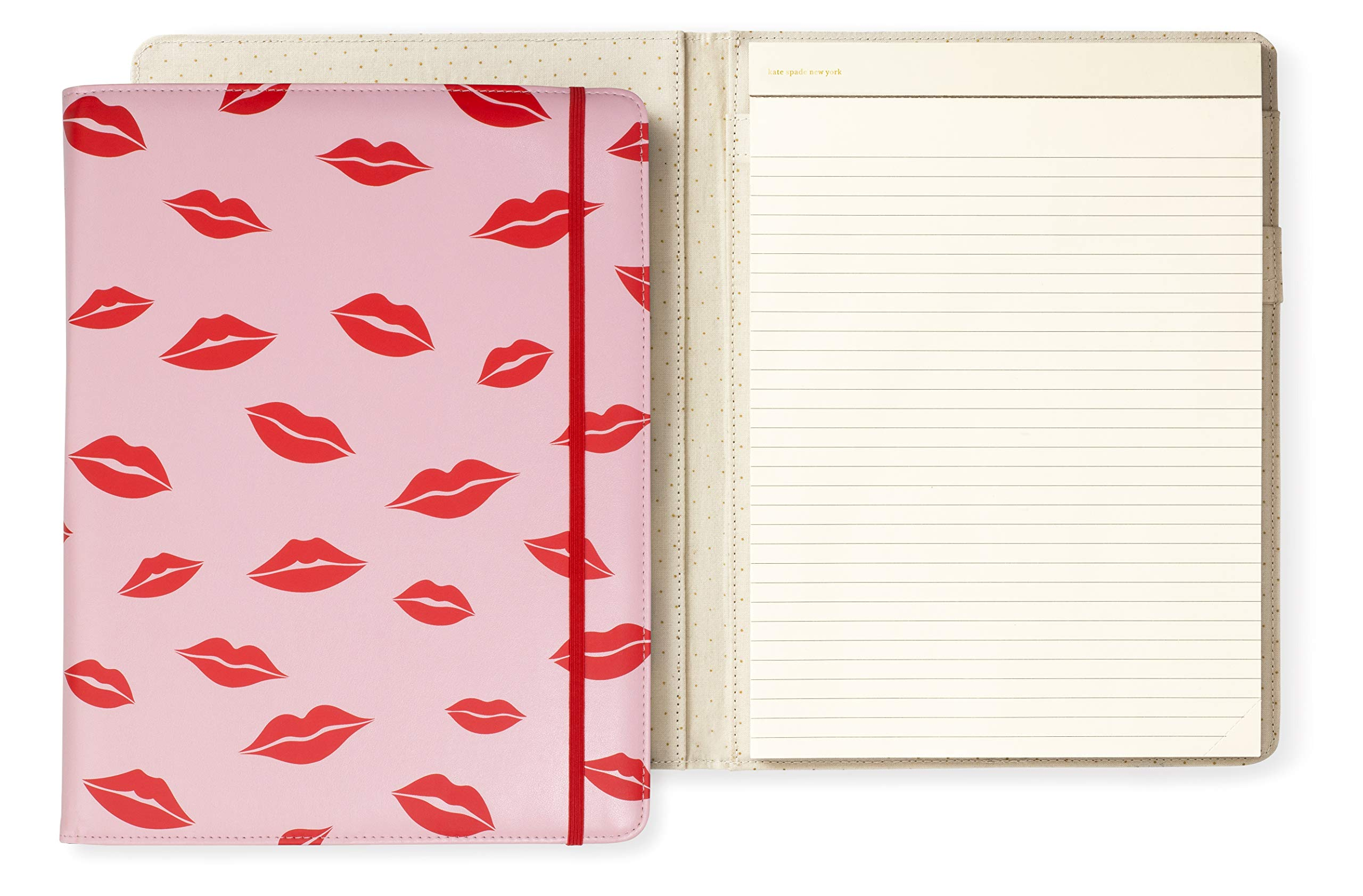 Kate Spade New York Legal Notepad Folio with Elastic Band Closure, Lips