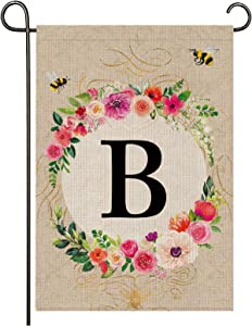 Monogram Garden Flag Letter B Garden Flag,12.5X18inches Initial Garden Flag Family Name Last Name Welcome Garden Flag, Premium Burlap Weather and UV Resistant for Outside Yard Outdoor Decoration