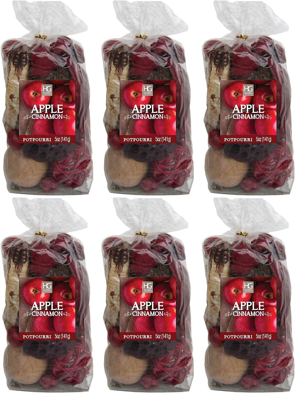 Hosley Set of 6 Apple Cinnamon Chunky Potpourri 5 Ounces Each W9