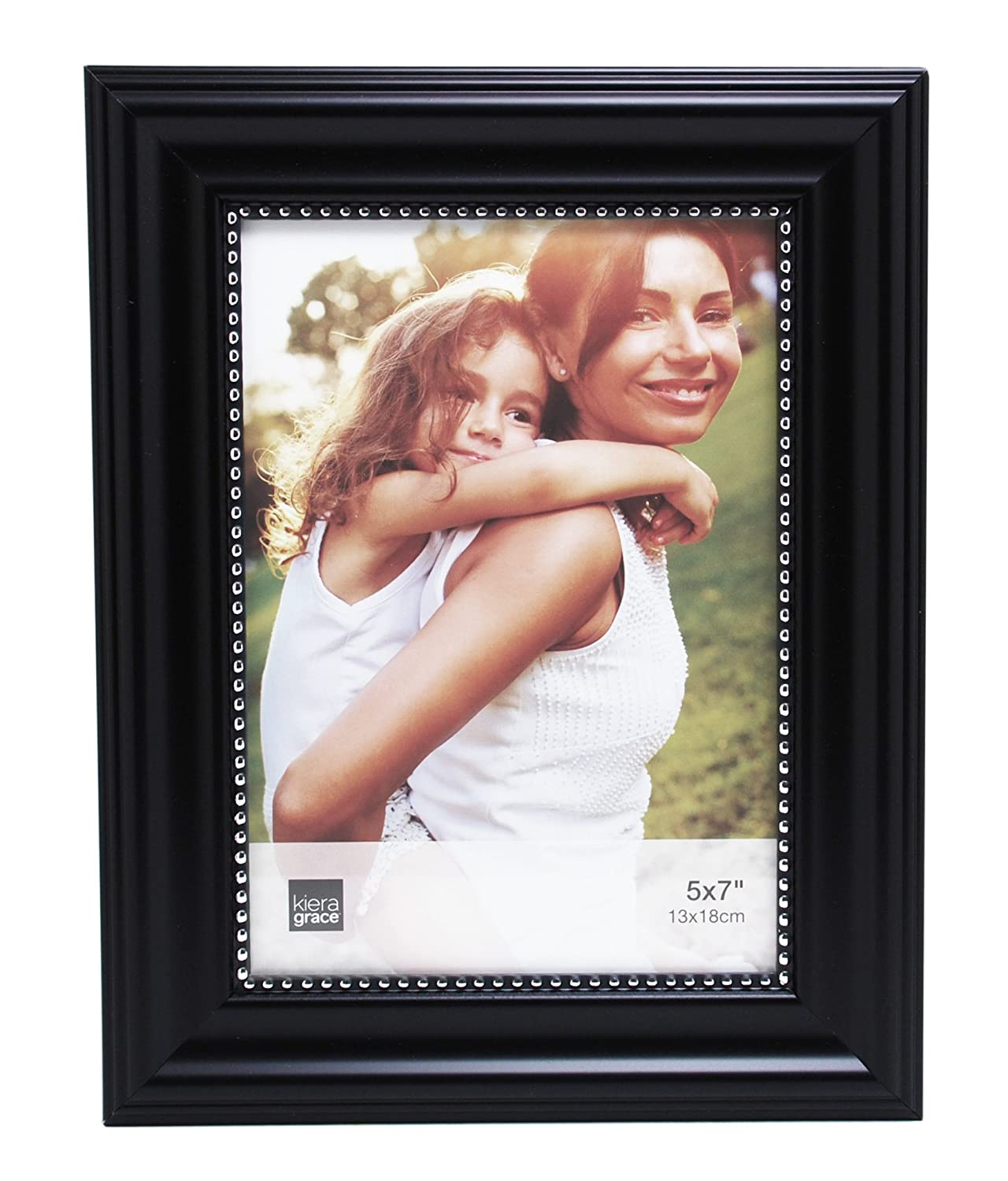 Kiera Grace Horizontal Lucy Collage Picture Frames on Hanging Ribbon, 5 by 7 Inch, Dark Brown with Gold Beading, Set of 3 PH44047-1