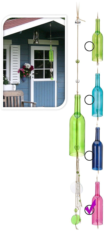 Flaschen Windspiel - Pink - 110cm - Gartendeko Klangspiel Glas ...