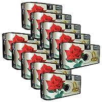 """10x PHOTO PORST Hochzeitskamera / Einwegkamera """"rote Rose + Ringe"""" (deutsche Bedienungsanleitung, mit Blitzlicht und Batterien, je 27 Fotos, ISO 400 Fuji)"""