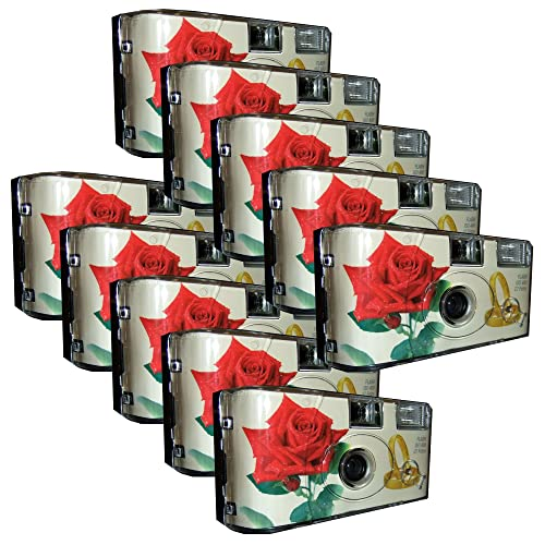 10 x PHOTO PORST Red Rose and Rings Wedding Camera Disposable Camera