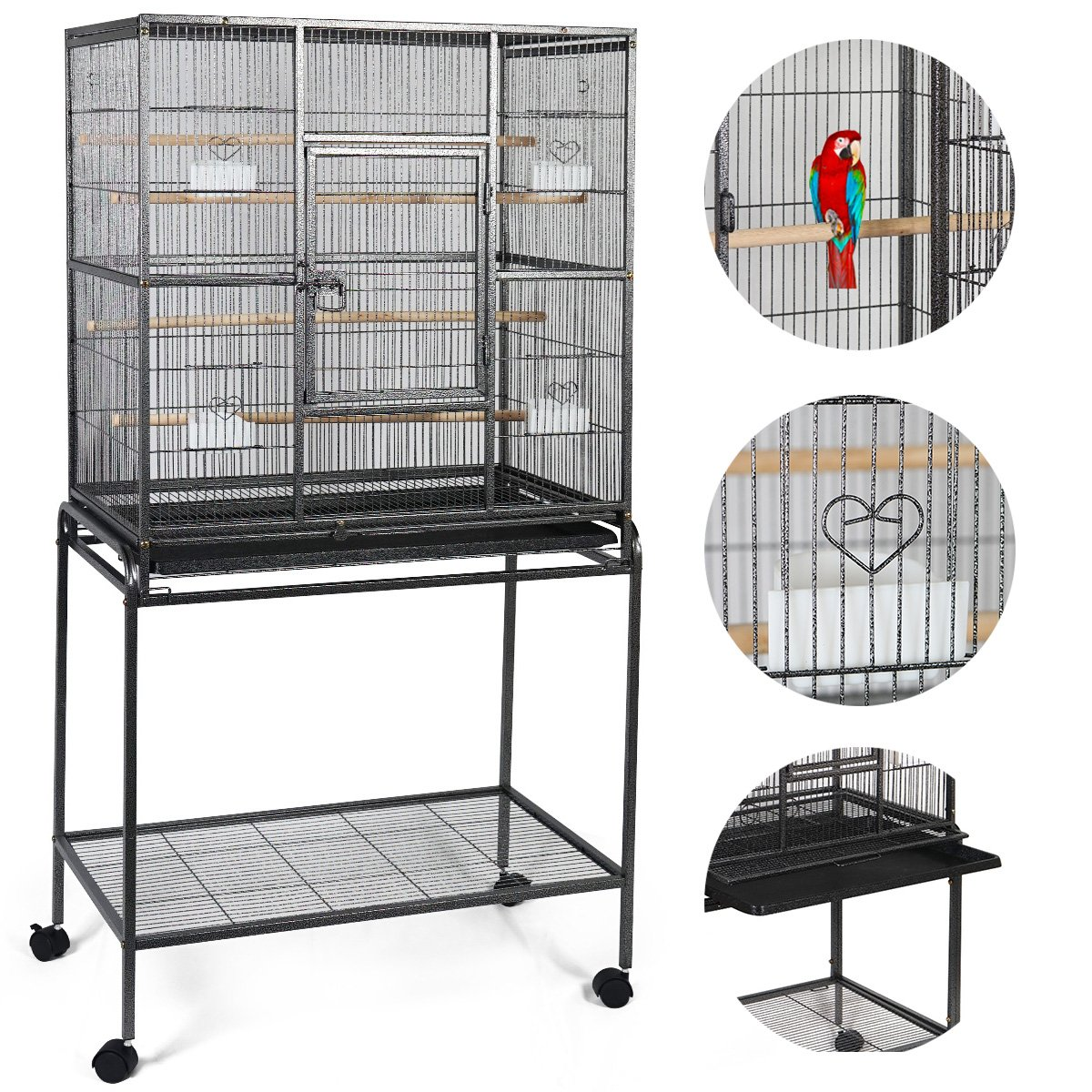 PETSJOY 61'' Large Bird Cage Parrot Cage for African Grey Senegal Parrots Cockatiels Sun Parakeets Green Cheeked Conures Roofed Top Play Pet Bird Cage with Perch and Stand, 2 Doors 2 Feeders by PETSJOY