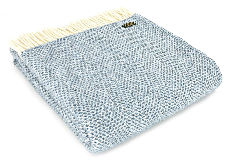 Honeycomb Schurwolle Decke – British Made – petrol blau