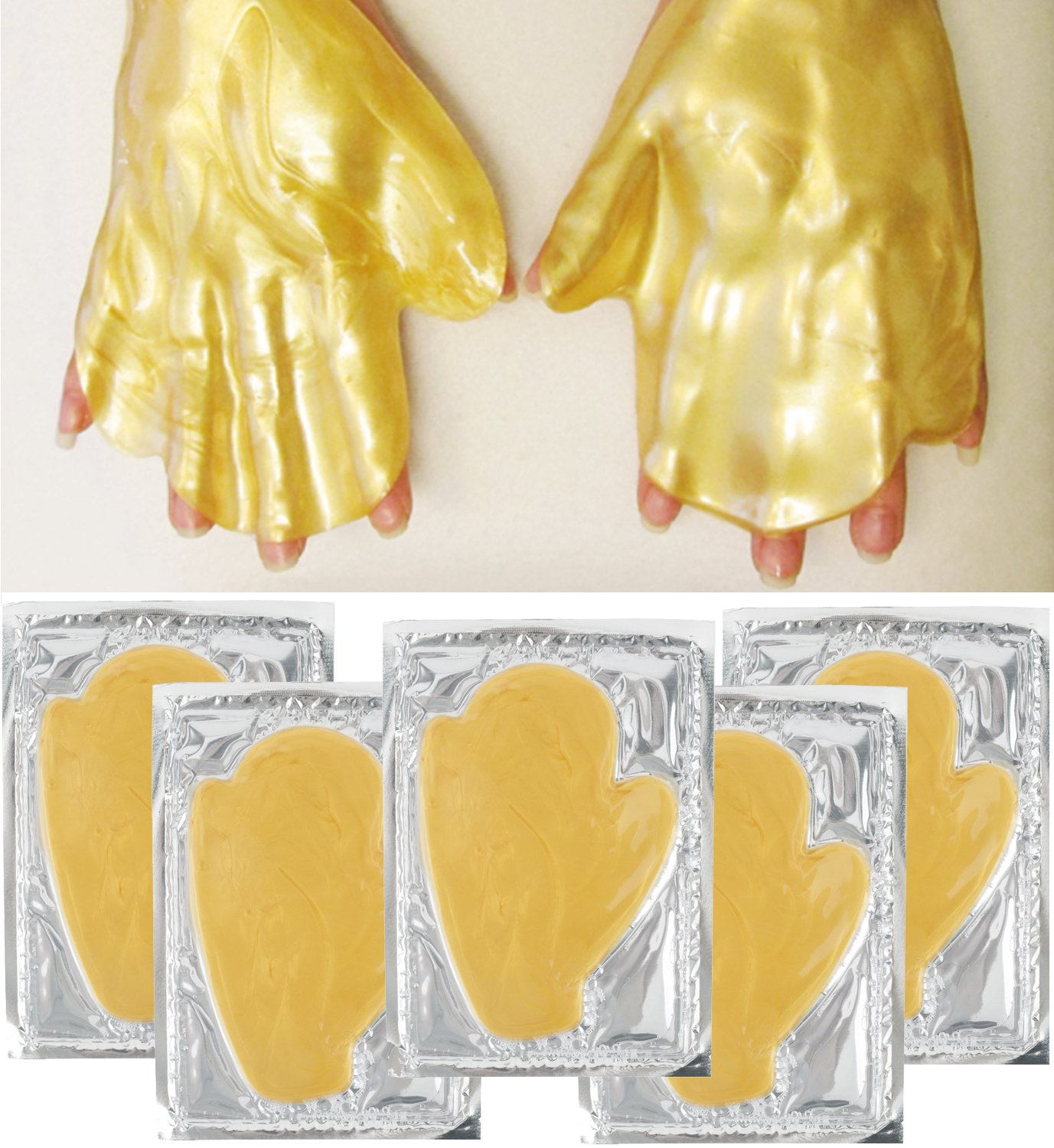 Anti Aging Treatments Set / Kit of 5 Pairs Hands Newborn 24 K Gold / Golden Collagen Gel Crystal Masks for Intense Hydration / Moisturizing, Firming / Lifting, Skin Elasticity, Smoothing and Wrinkles Removal VAGA