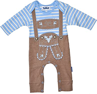 """Baby Bodysuit With Braces Sweet Bavarian /""""Trachtenlook/"""" In Different Sizes Long-Sleeved"""