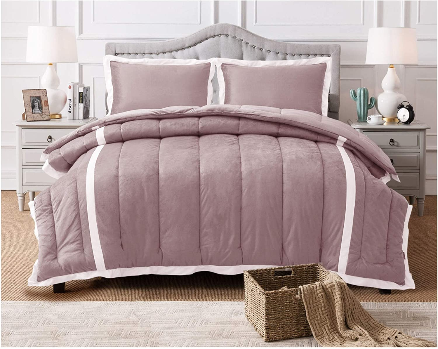 KASENTEX 3 Piece Luxury Down Alternative Comforter Set with Plush Microfiber Stripe Design, Reversible and Machine Washable, Queen with 2 Shams, Orchid Pink
