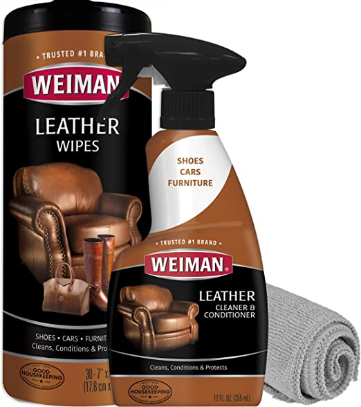 Weiman Leather Cleaner and Conditioner Kit - Non-Toxic Restores Leather  Surfaces - Ultra Violet Protectants Help Prevent Cracking or Fading of  Leather ...