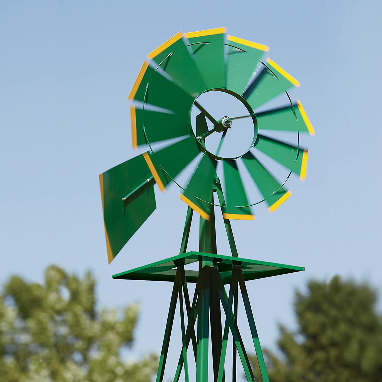 Amazon.com : 8ft. Ornamental Garden Windmill - Green and Yellow ...