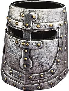 Design Toscano Knights Templar Helmet Pen Cup Desk Accessory Statue, 4 Inch, Polyresin, Pewter Finish