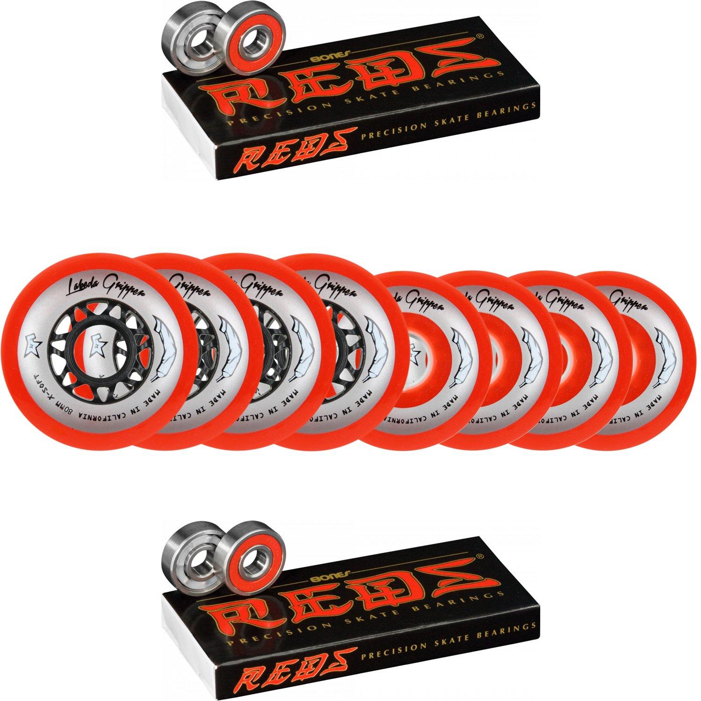 Labeda Wheels 80mm /76mm Hilo Gripper Red X-Soft Inline Hockey 76A Bones Reds