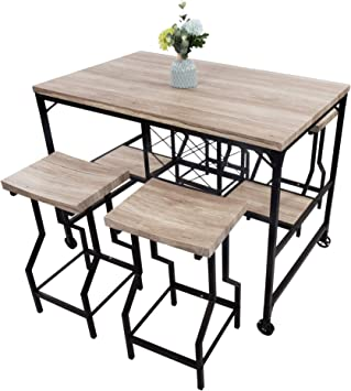 Amazon Com Luckyermore 5 Piece Counter Height Dining Table Set