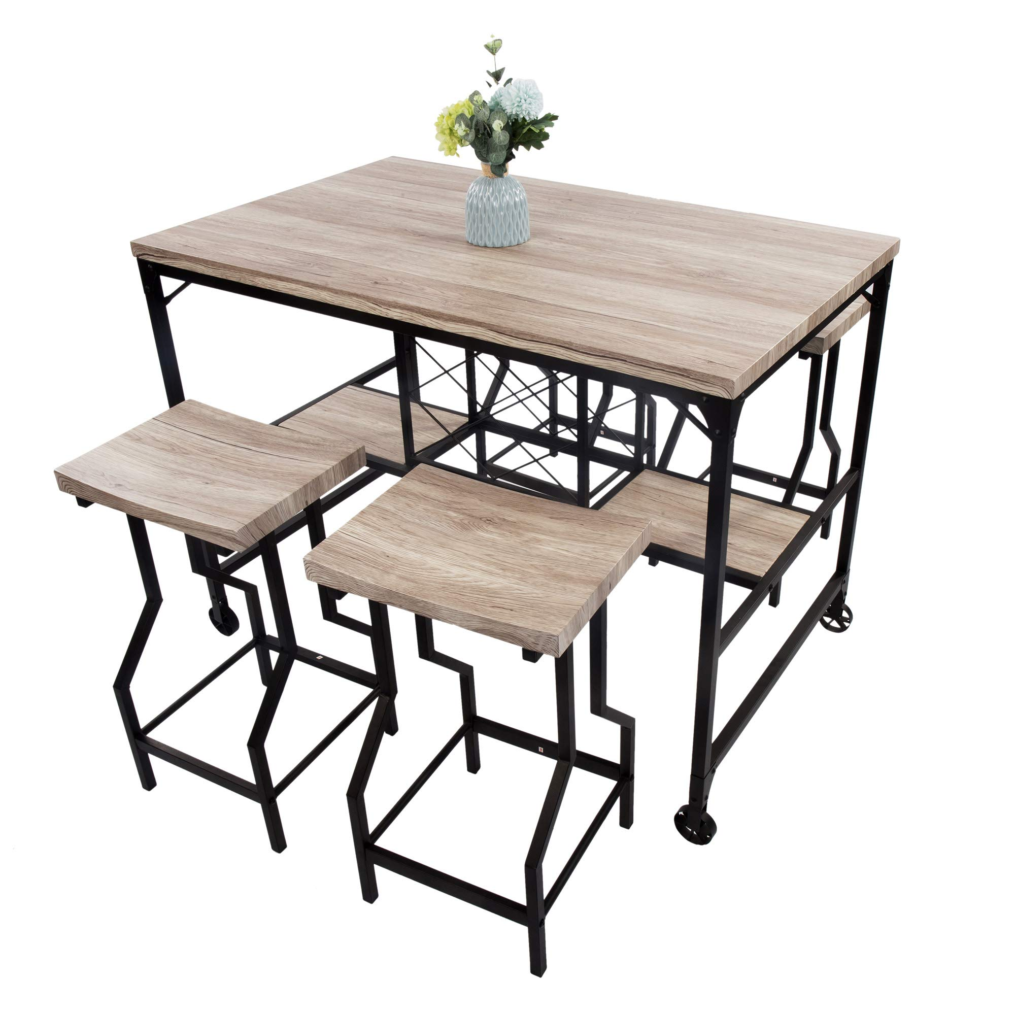 LUCKYERMORE 5 Piece Counter Height Dining Table Set Kitchen Table and 4 Bar Chair High Top Table Chair Set for Any Room, White by LUCKYERMORE