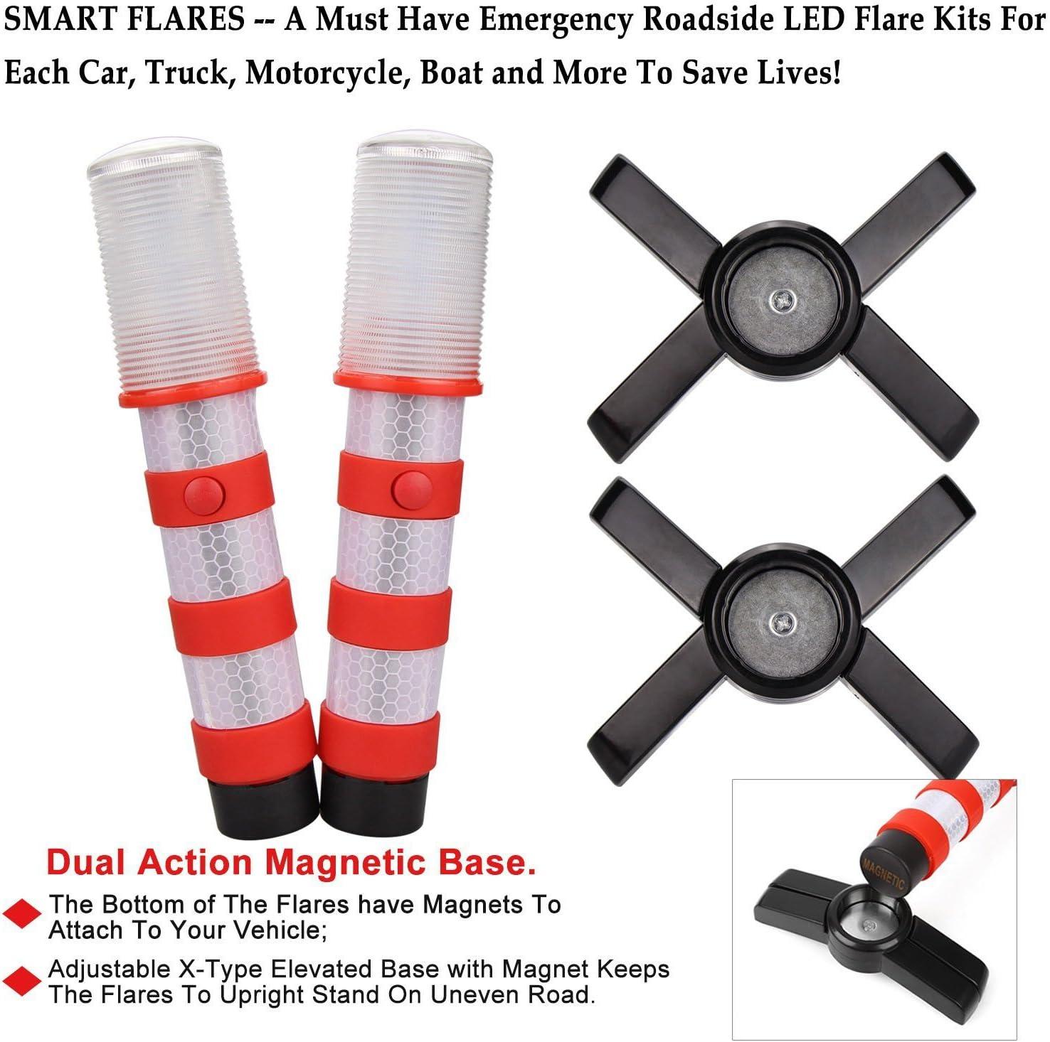 Warnsignal LED-Notfallleuchte magnetischer Sockel und aufrechter St/änder in solider Aufbewahrungsbox f/ür Auto // Boote // Fahrzeuge // LKW 2 case=4 pcs roter Stra/ßenblinker