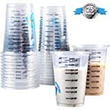 Clever Measure Disposable Mixing Cups Pack of 25 8oz Graduated Clear Plastic Measuring Cups Multipurpose Mixing Resin Epoxy P