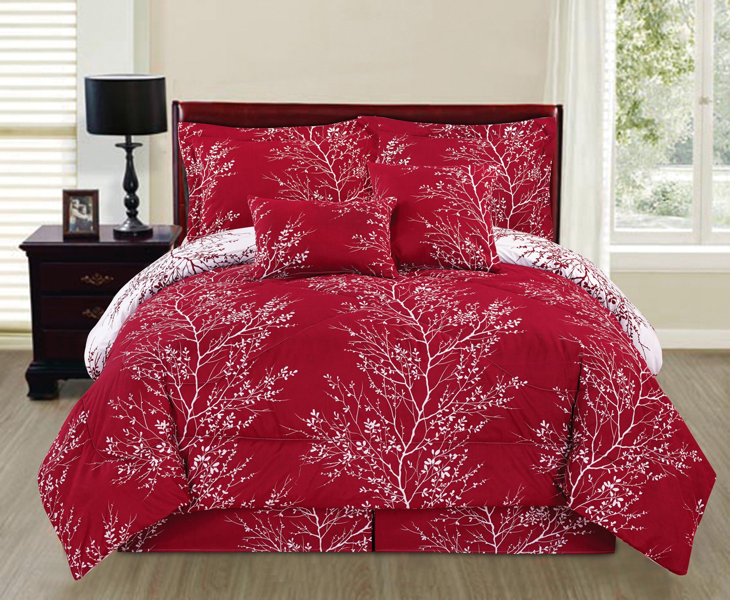 6 Piece Reversible Branches Comforter Set New Bedding (Queen, Red