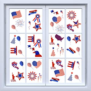 200 Pieces 4th of July Window Clings Patriotic USA Window Cling Decorations Patriotic Static Cling Window Decal for Party Supplies, Home Decor, Red White and Blue Color