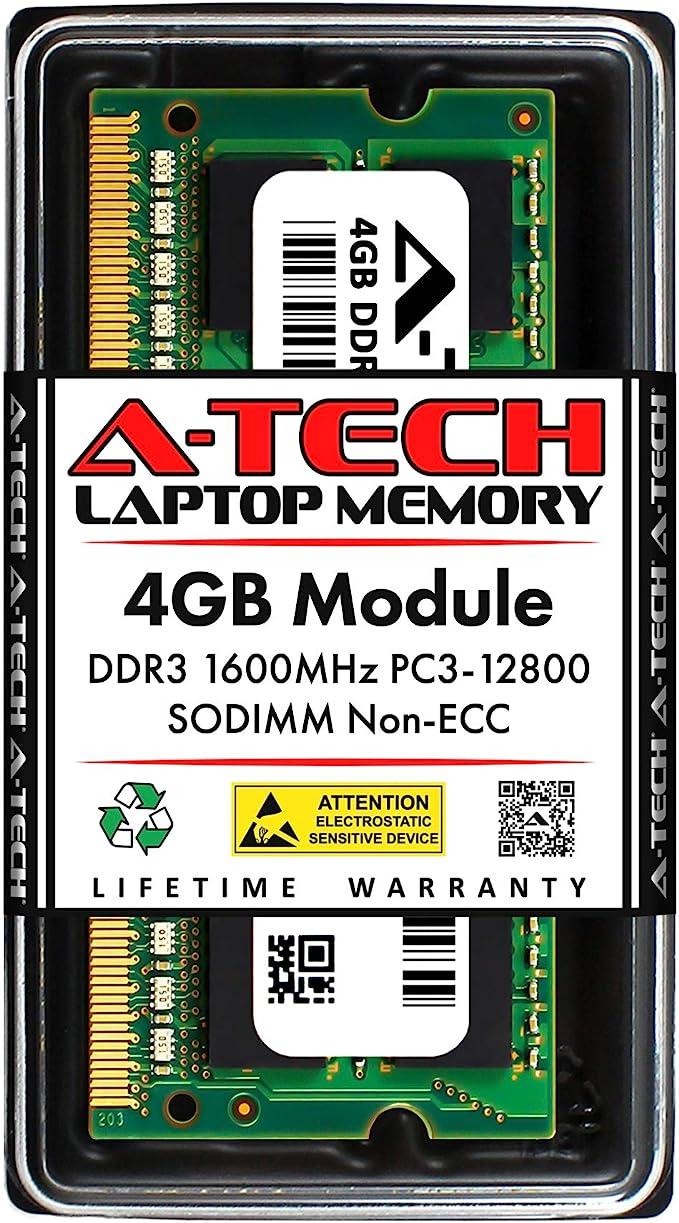 DDR3 1600MHz SODIMM PC3-12800 204-Pin Non-ECC Memory Upgrade Module A-Tech 4GB RAM for ACER Aspire E ES1-571-XXXX