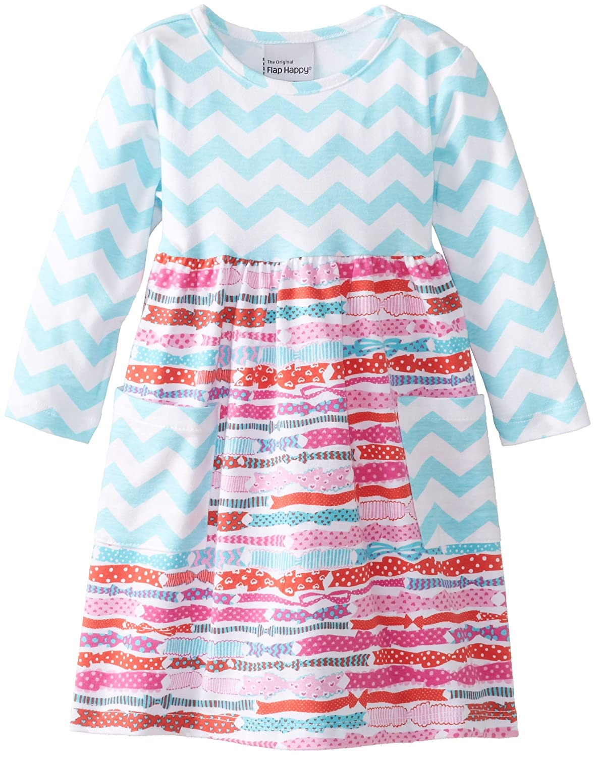 Flap Happy Baby Girls Contrast Tee Dress with Pockets