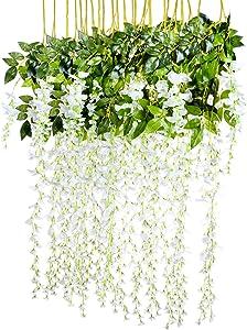 3.6 Feet Artificial Flower Silk Wisteria Vine Rattan Fake Wisteria Garland Hanging Flowers for Home Garden Party Wall Wedding Decor,6 Pieces (White 2)