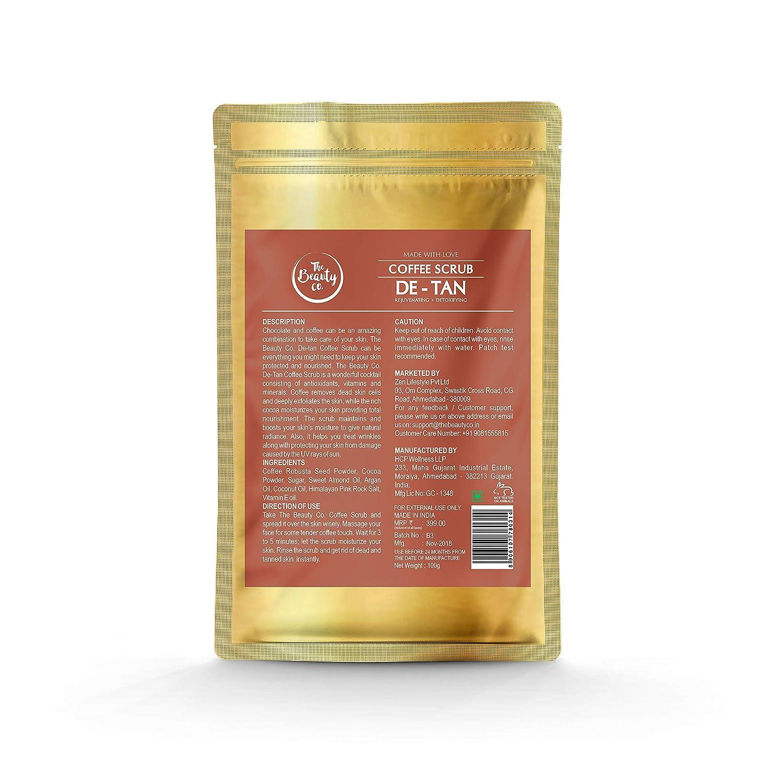 The Beauty Co  De-tan Coffee Face & Body Scrub with Coconut, Vitamin E,  Almond Oils, 100 g