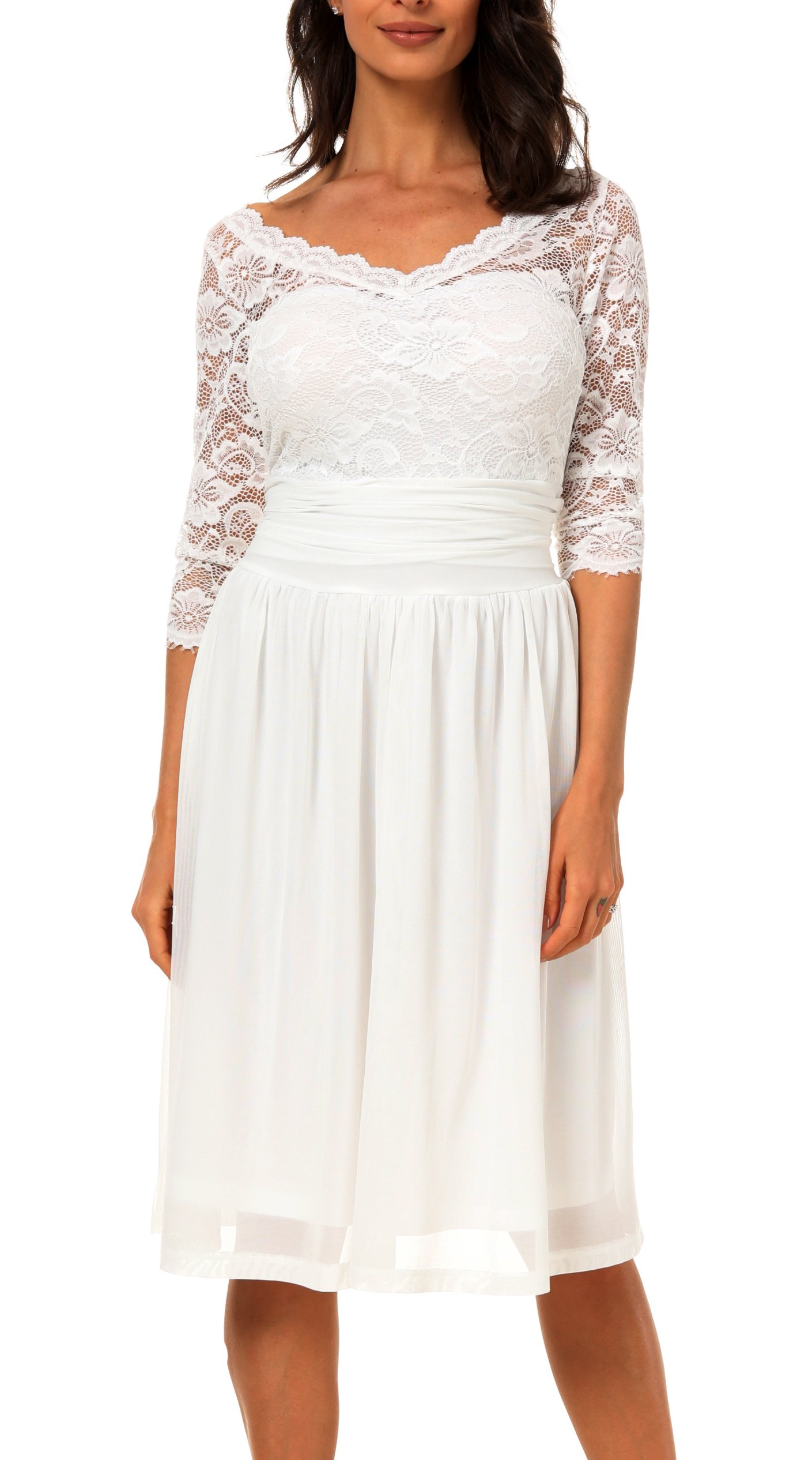 DILANNI Women's Long Sleeve Ruched Waist Surplice V-Neck Semi Formal Dress