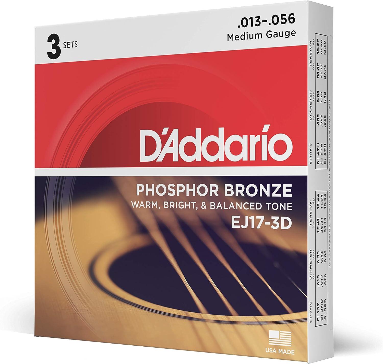 D'Addario EJ17-3D - Juego de cuerdas para guitarra acústica de fósforo/bronce.013 - .056