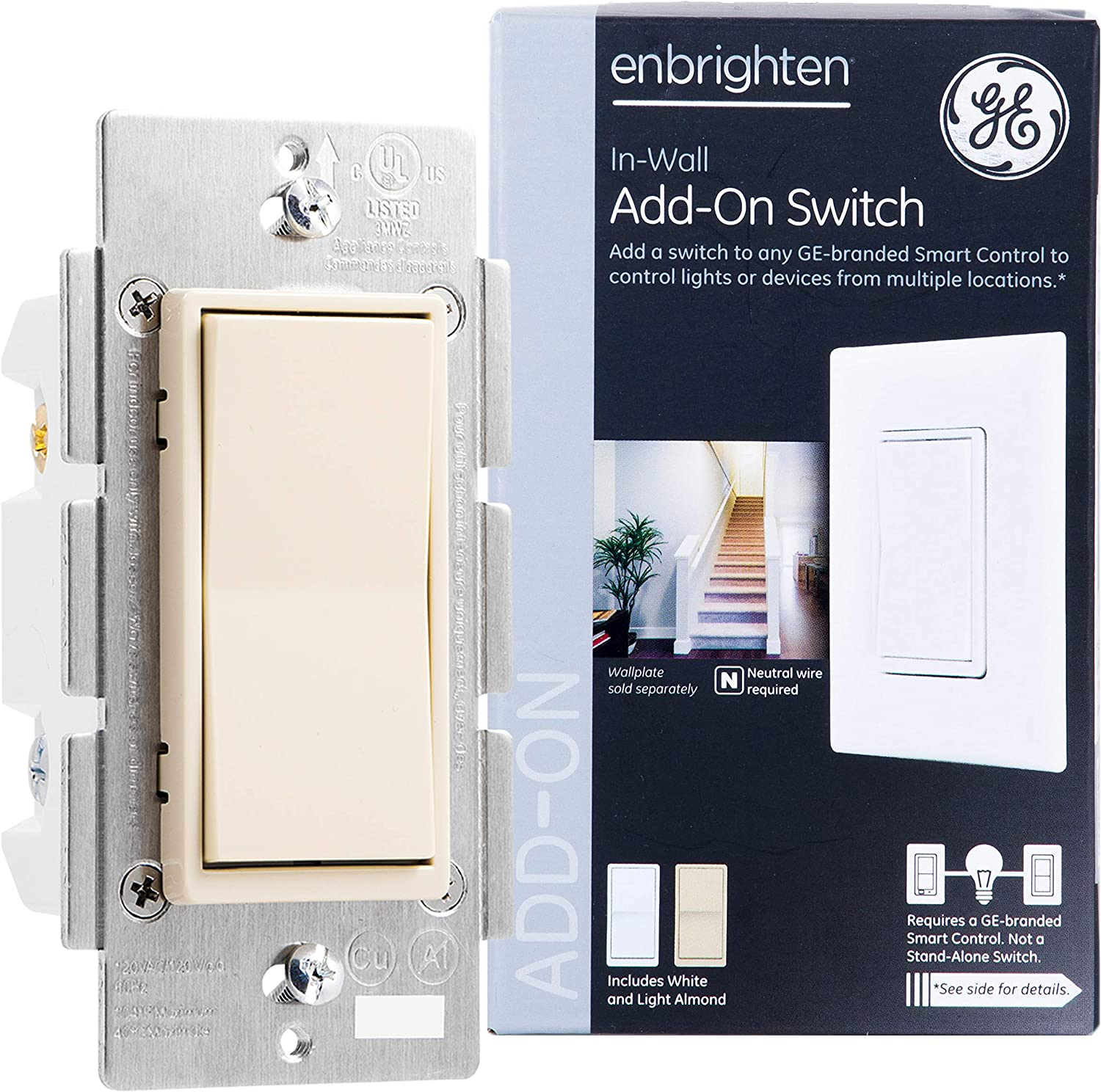 GE Enbrighten Add-On Switch for GE Z-Wave/GE Zigbee Smart Lighting Controls, Works with Alexa, Google Assistant, NOT A STANDALONE SWITCH, Ivory, 38195