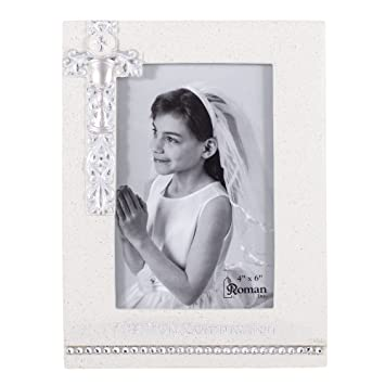 Amazoncom 8 First Holy Communion White Frame With Silver Scroll
