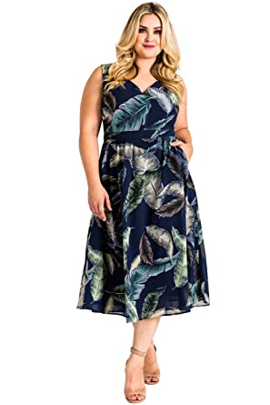 94af5879c5f Standards   Practices Plus Size Women s A-Line Leaf Print Sleeveless Midi  Dress ...