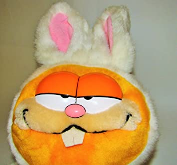 Garfield The Cat Easter Bunny Basket White Plush Stuffed Animal Toy