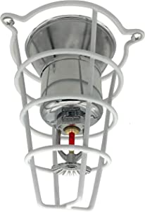 """Happy Tree (4 Pack) White Fire Sprinkler Head Guard Cover for Both 1/2"""" & 3/4"""" Sprinkler Head 6"""" Deep Cage"""