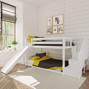Max & Lily Twin Low Bunk Bed with Staircase and Slide, White