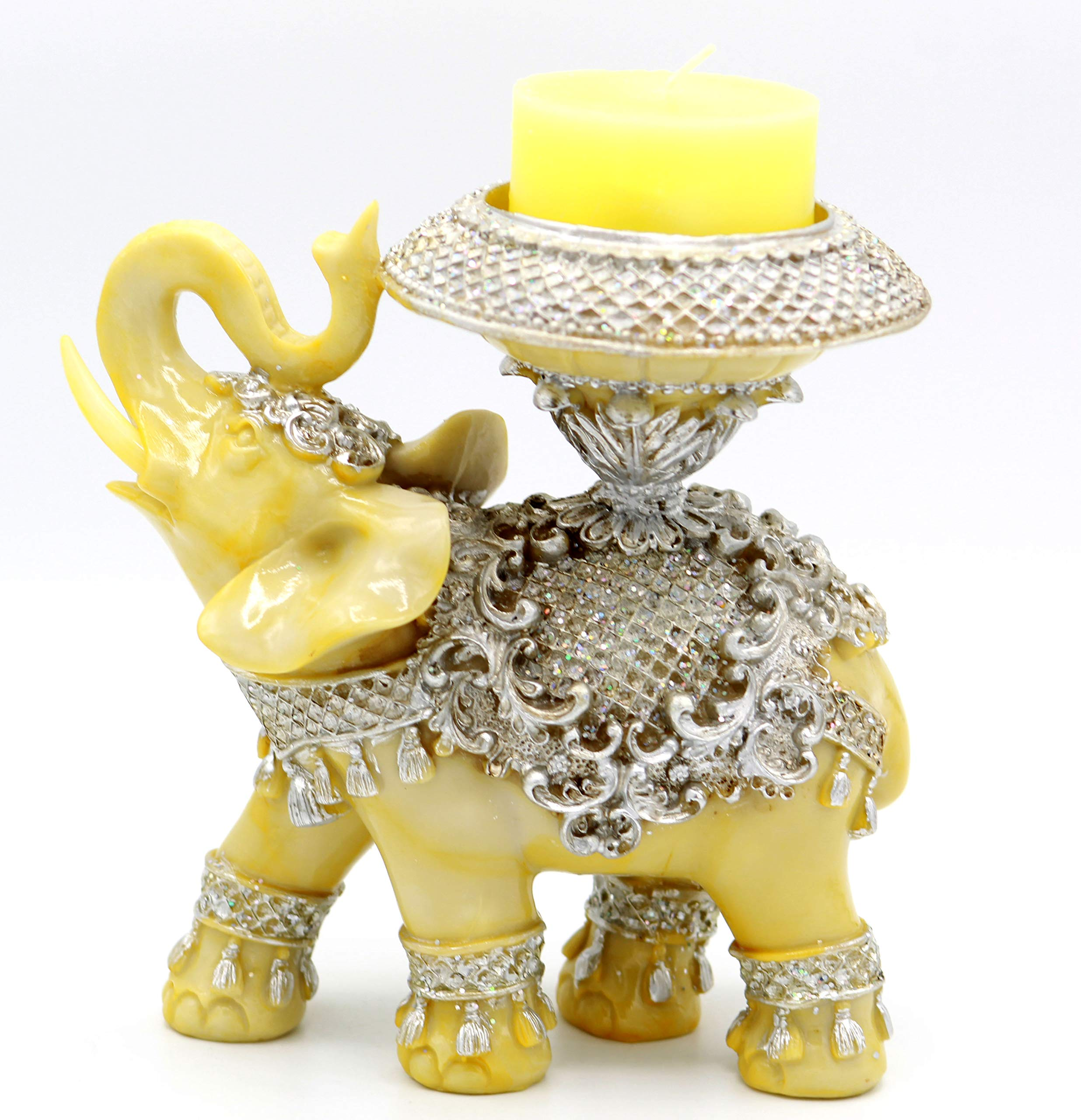"""Feng Shui 6"""" (H) Elephant Statue with Candle Holder Trunk Facing Upwards Collectible Wealth Lucky Elephant Figurine, Perfect for Home Office Decor Gift by Crystal Collection"""